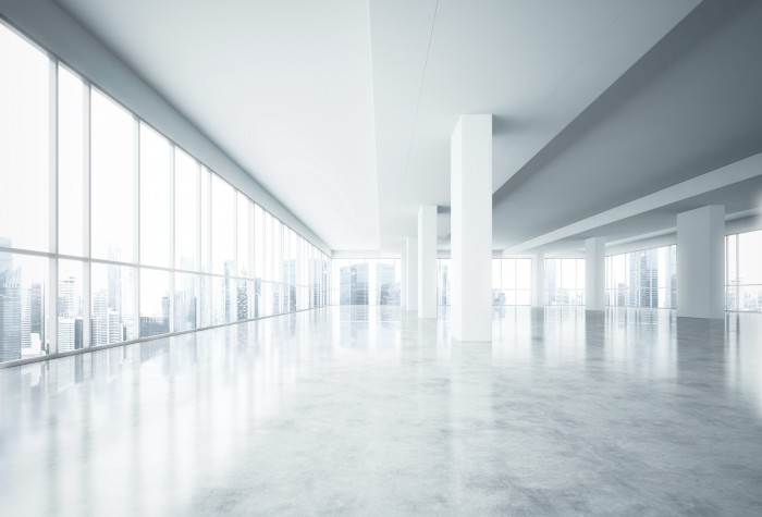 Empty white office interior with city view